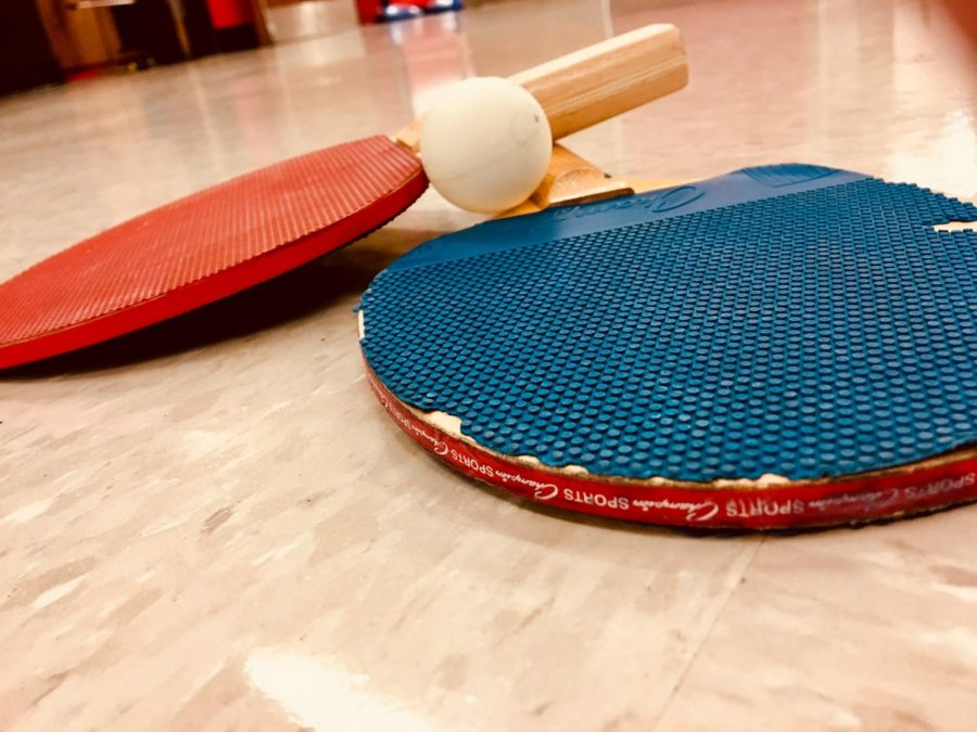 Ping pong paddles used in matches. B. Foster