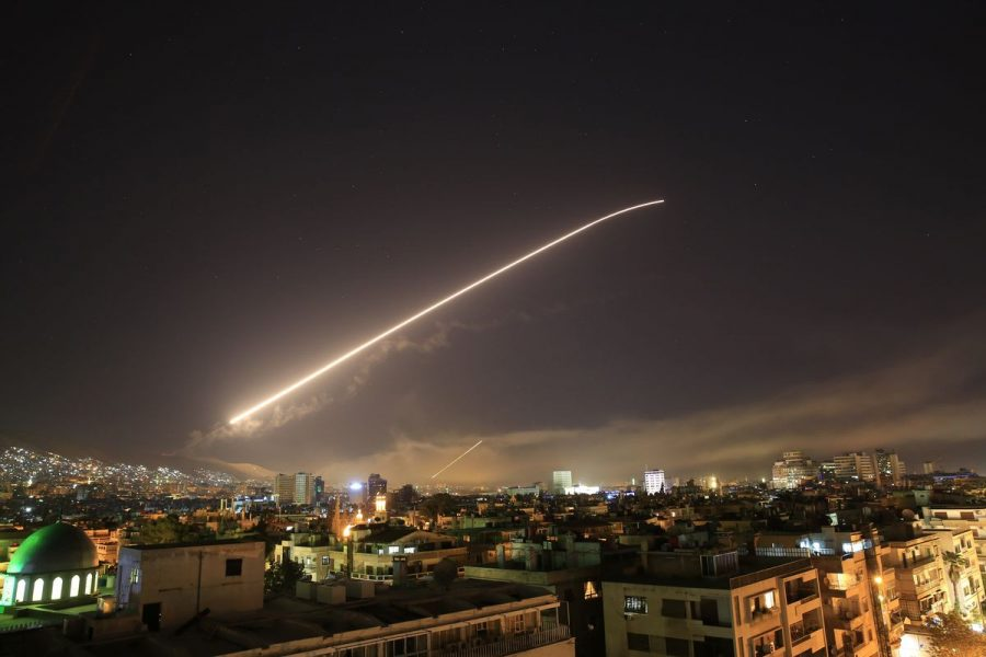 Missiles seen overhead Damascus as The United States and Allies bombed the Israeli capital city.