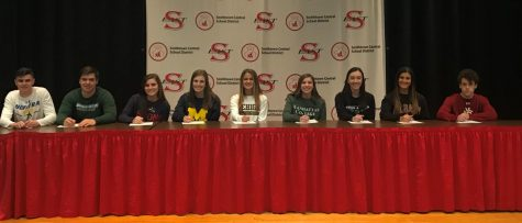 (In order from left to right) William Kennedy-- Hofstra University Baseball, Douglas Goodwin-- Binghamton University Baseball, Gabriella Whitehouse-- Stony Brook University Women's Lacrosse, Sophia DeNicola-- University of Michigan Women's Lacrosse, Gabrielle Schneider-- Lehigh University Women's Lacrosse, Catherine Farrell-- Manhattan College Cross Country and Track and Field, Grace Young-- Binghamton Track and Field, Isabella Romano-- University at Albany Women's Soccer, Alexander Blatt-- Colorado Mesa University Men's Lacrosse.